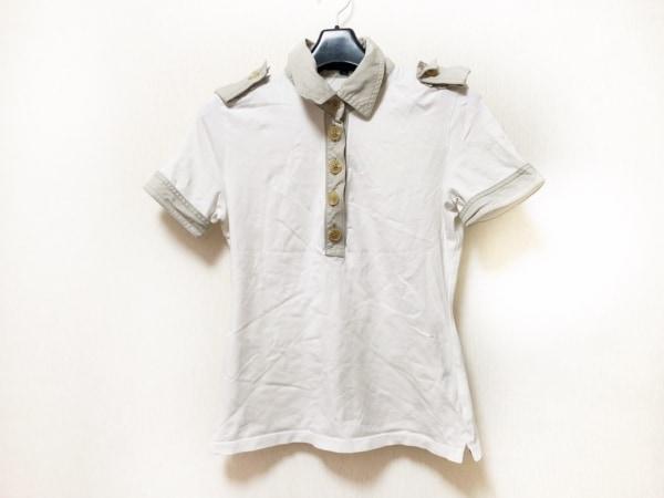 バーバリーロンドン 半袖ポロシャツ サイズ1 S レディース 白×ライトグレー