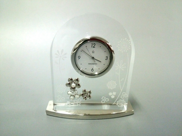 mikimoto(ミキモト) 小物美品  クリア×白×シルバー 置時計(動作確認できず)