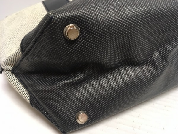 ニューヨーカー トートバッグ アイボリー×ネイビー PVC(塩化ビニール)×レザー