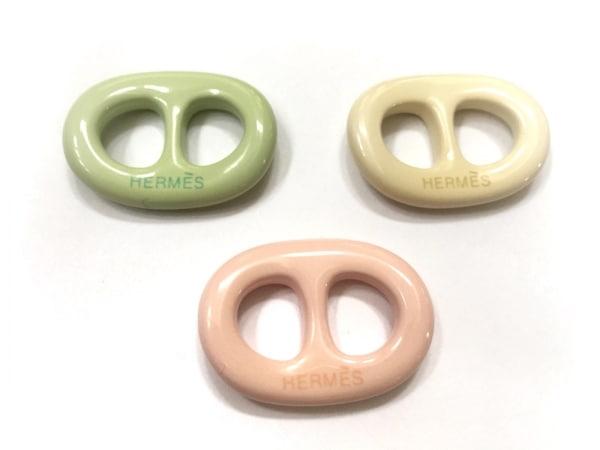 エルメス スカーフリング美品  トリボー プラスチック ピンク×ライトグリーン