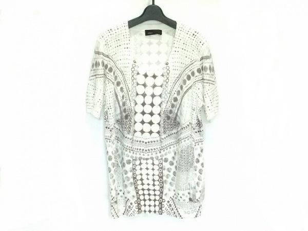 ディーゼルブラックゴールド 半袖セーター メンズ 白×ダークブラウン