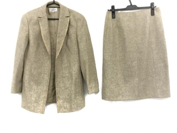 バレンチノ スカートスーツ サイズ24 レディース美品  ライトベージュ×ライトグレー
