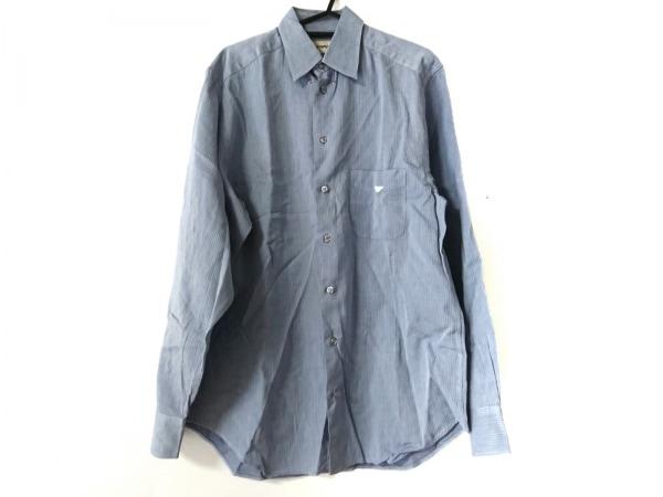 エンポリオアルマーニ 長袖シャツ サイズ39 メンズ美品  ライトブルー×ネイビー