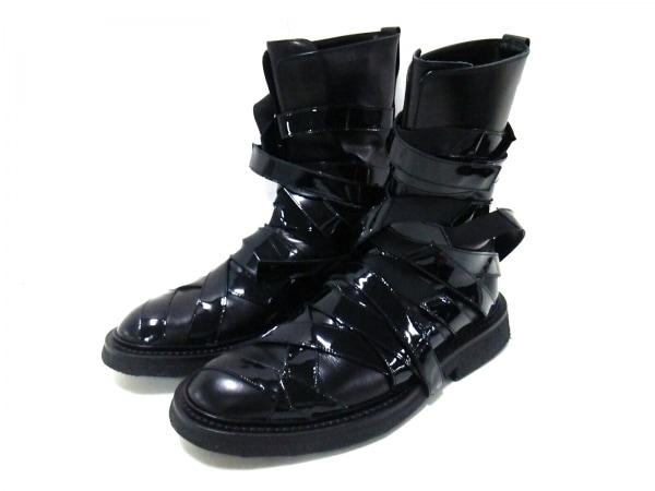Dior HOMME(ディオールオム) ブーツ 42 メンズ美品  黒 レザー×エナメル(レザー)