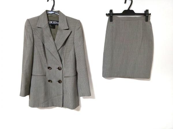 エスカーダ スカートスーツ サイズ36 M レディース美品  カーキ×アイボリー 肩パッド