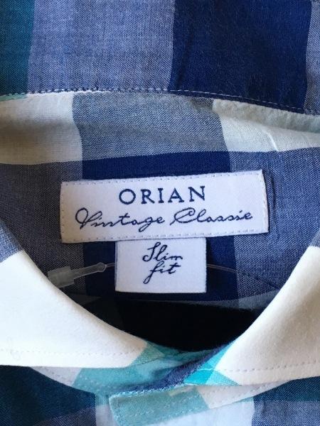ORIAN(オリアン) 長袖シャツ サイズ39 メンズ美品  ライトブルー×ネイビー×マルチ