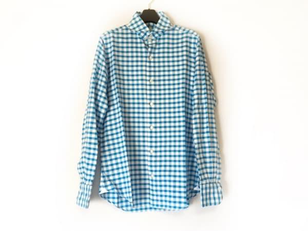 フィナモレ 長袖シャツ サイズ39 メンズ美品  ライトブルー×白 ギンガムチェック