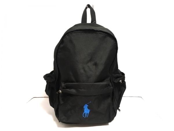 ポロラルフローレン リュックサック ビッグポニー 黒×ブルー ナイロン