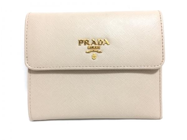 PRADA(プラダ) 3つ折り財布 - ベージュ レザー