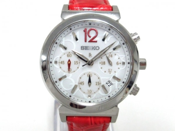 セイコー 腕時計美品  ルキア V175-0AJ0 レディース 革ベルト/トリプルカレンダー 白