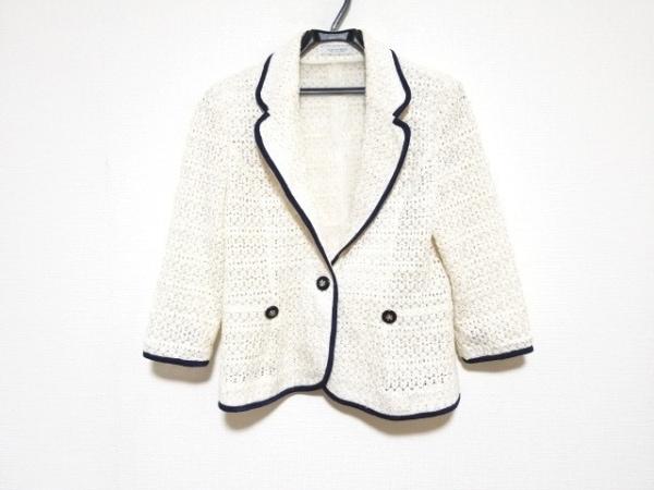 オースチンリード ジャケット サイズ40 L レディース美品  アイボリー×白×ネイビー