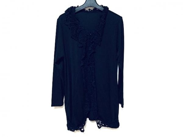 シズカコムロ カーディガン サイズ44 L レディース美品  黒 ロング丈/刺繍/4298