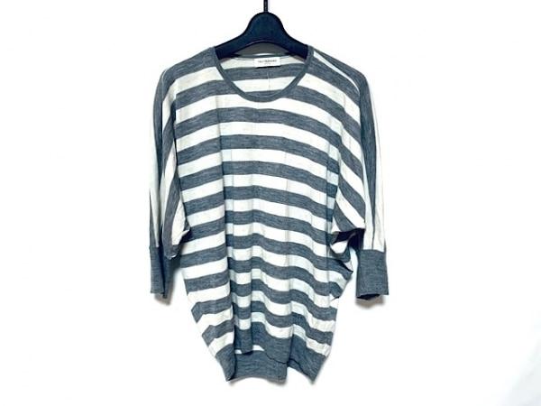 トゥルートラサルディ 七分袖セーター サイズ38 M レディース グレー×アイボリー