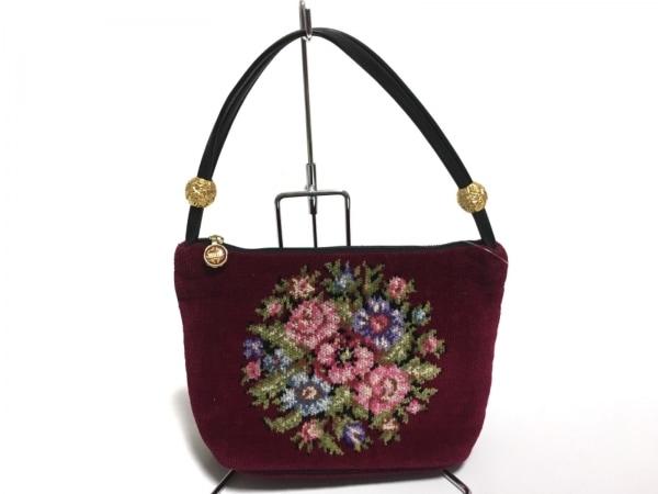 フェイラー ハンドバッグ美品  ボルドー×ピンク×マルチ 花柄 パイル×レザー