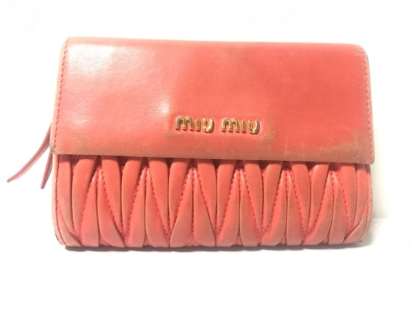 miumiu(ミュウミュウ) 3つ折り財布 ギャザーウォレット オレンジ レザー