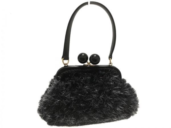 capaf(カバフ) ハンドバッグ美品  黒×シルバー がま口 化学繊維×ウール×レザー