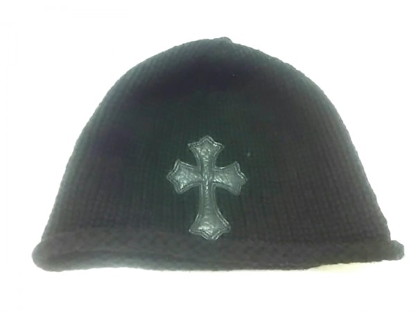 Chrome hearts(クロムハーツ) ニット帽 黒 クロス カシミヤ