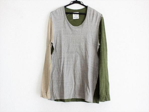 OHTA(オオタ) 長袖Tシャツ サイズM レディース ライトグレー×ベージュ×グリーン