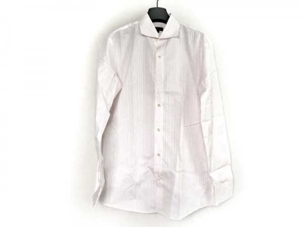 JOSEPH HOMME(ジョセフオム) 長袖シャツ サイズ50 メンズ 白×ピンク ストライプ