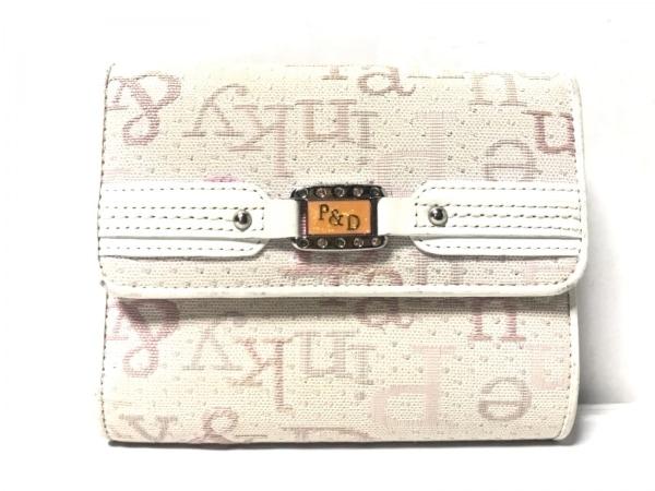 Pinky&Dianne(ピンキー&ダイアン) 3つ折り財布 ベージュ×ピンク×アイボリー がま口