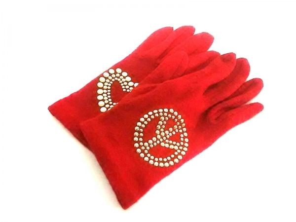 MOSCHINO(モスキーノ) 手袋 レディース レッド×ゴールド スタッズ ウール