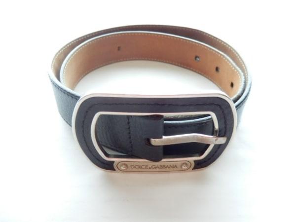 DOLCE&GABBANA(ドルチェアンドガッバーナ) ベルト 黒×シルバー レザー×金属素材