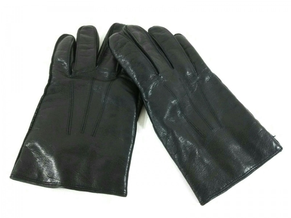 COACH(コーチ) 手袋 M メンズ美品  黒×ベージュ レザー×カシミヤ