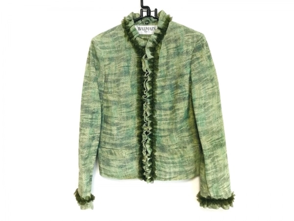 バルマン ジャケット サイズ9 M レディース新品同様  ライトグリーン×グリーン