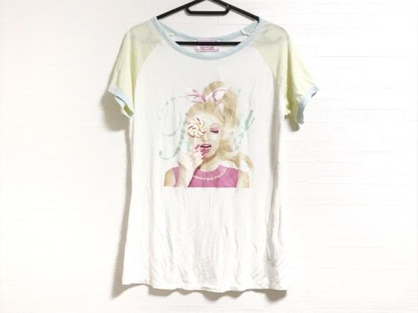 レディ 半袖Tシャツ サイズF レディース美品  - - アイボリー×ベージュ クルーネック
