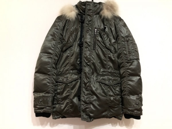 5351プールオム ダウンコート サイズ2 M メンズ美品  カーキ ファー/冬物