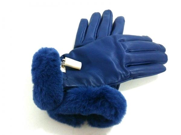 エルメス 手袋 7 レディース新品同様  プリンセス ブルーアンクル ラムスキン×ミンク