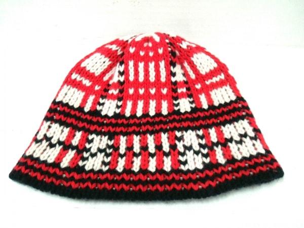 HERMES(エルメス) ニット帽 S美品  タータン レッド×黒×アイボリー カシミヤ