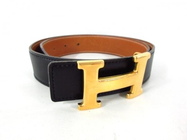 HERMES(エルメス) ベルト 70 Hベルト □A 黒×ゴールド ゴールド金具/新型 レザー