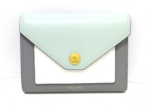 セリーヌ 3つ折り財布美品  ポケット 103783A3K.30AL ライトグリーン×グレー×白