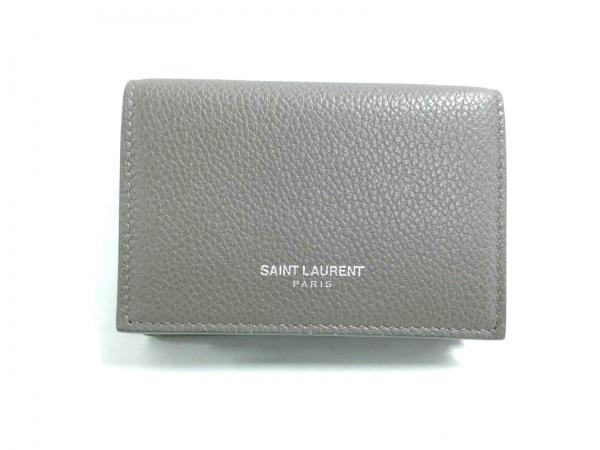 SAINT LAURENT PARIS(サンローランパリ) 3つ折り財布新品同様  グレー レザー
