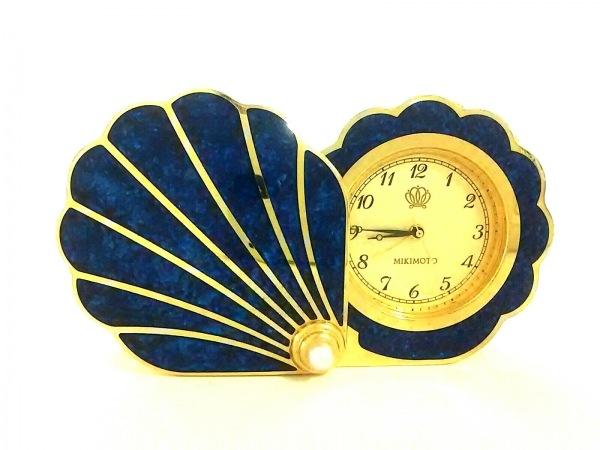 ミキモト 小物 ネイビー×ゴールド 置時計(動作確認できず) 金属素材×パール