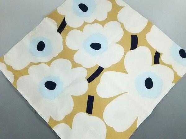 マリメッコ 小物美品  白×ライトブラウン×ネイビー クッションカバー コットン