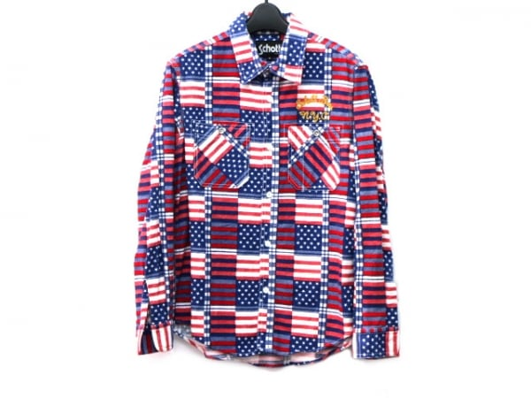 schott(ショット) 長袖シャツ サイズM メンズ ブルー×レッド×白