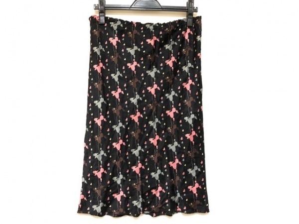 アンナモリナーリ スカート サイズ40 M レディース 黒×マルチ イヌ/ハート/シルク