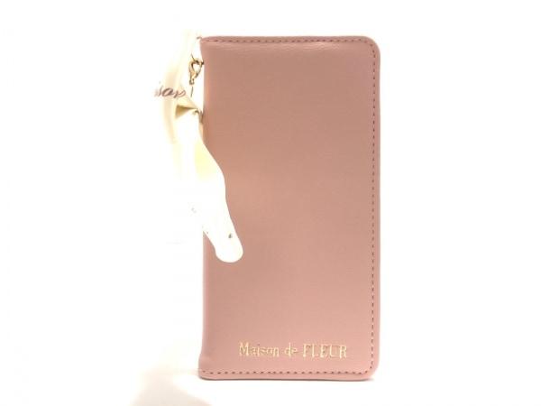 メゾンドフルール 携帯電話ケース美品  ピンク×アイボリー×マルチ 合皮