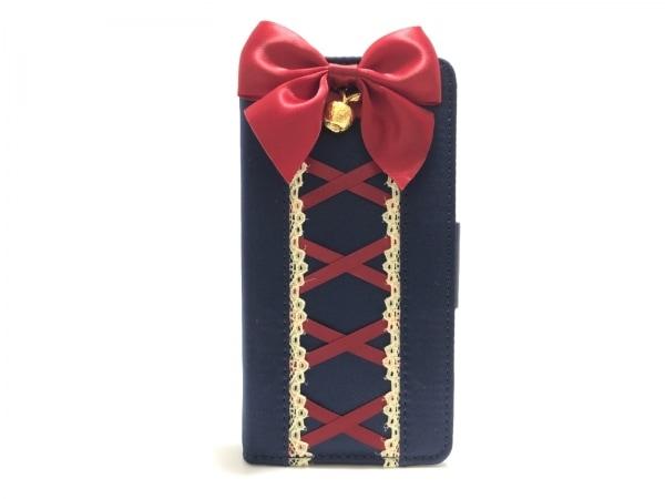 メゾンドフルール 携帯電話ケース美品  ネイビー×レッド×アイボリー 化学繊維