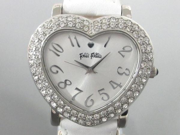 フォリフォリ 腕時計美品  WF5T183 レディース 革ベルト/ハート/ラインストーンベゼル