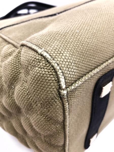 V73(ヴィセッタンタトレ) ハンドバッグ カーキ×黒×ゴールド キャンバス×レザー