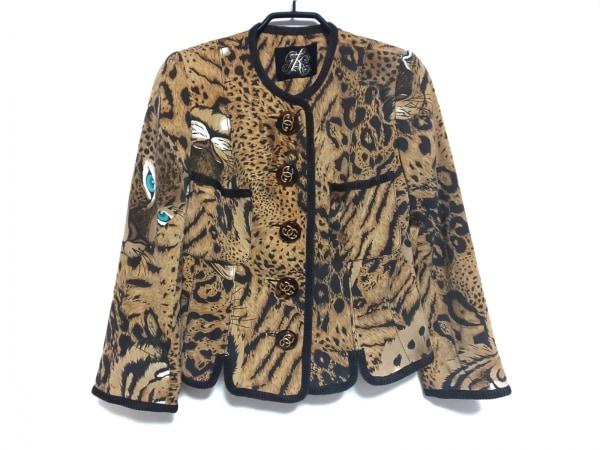 イタリヤ ジャケット サイズ9 M レディース ライトブラウン×ダークブラウン 豹