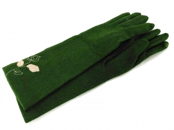 Sybilla(シビラ) 手袋 レディース グリーン×アイボリー 刺繍 ウール