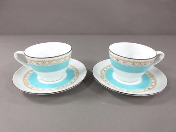 ノリタケ 食器新品同様  白×ライトブルー×マルチ カップ&ソーサー×2 陶器