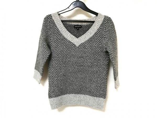 ANAYI(アナイ) 七分袖セーター レディース グレー×ダークグレー