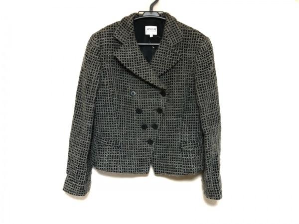 アルマーニコレッツォーニ ジャケット サイズ46 L レディース美品  グレー×黒
