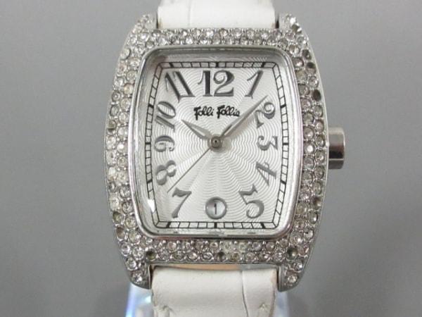 FolliFollie(フォリフォリ) 腕時計 レディース ラインストーン/型押し加工 シルバー