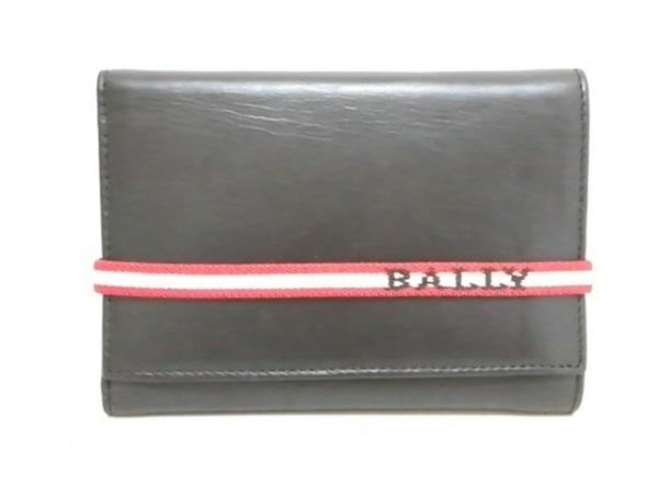 BALLY(バリー) 3つ折り財布 黒×レッド×白 レザー
